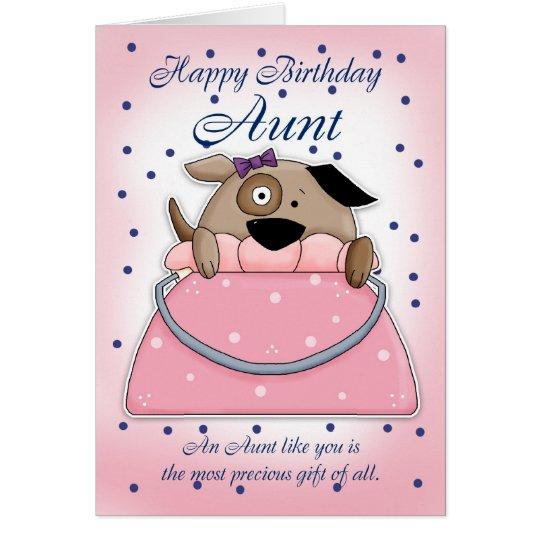 Aunt Birthday Card - Cute Purse Pet