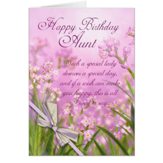 Aunt Birthday Card - Pink Feminine Floral With Ver