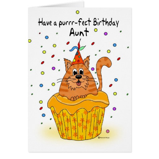 aunt birthday card with ginger cupcake cat