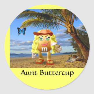 Aunt Buttercup - Customized Round Sticker