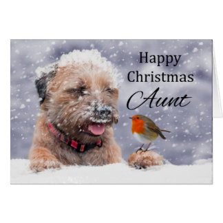 Aunt, Christmas, Border Terrier Dog Card