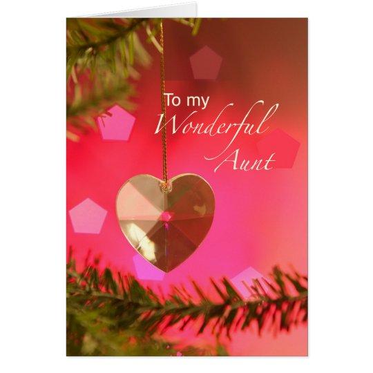 Aunt Christmas Heart on Tree Simple Joys Card