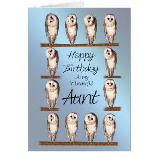 Aunt, Curious owls birthday card. Greeting Card