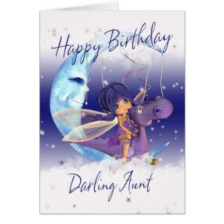 Aunt Cute Birthday card, purple dragon with fairy Greeting Card