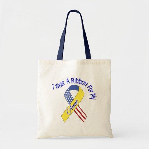 Aunt - I Wear A Ribbon Military Patriotic Bags