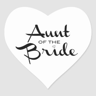 Aunt of Bride Black on White Heart Sticker