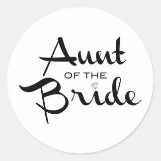 Aunt of Bride Black on White Round Stickers