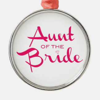 Aunt of Bride Hot Pink on White Silver-Colored Round Decoration