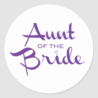 Aunt of Bride Purple on White Round Sticker