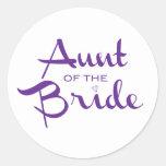 Aunt of Bride Purple on White Stickers