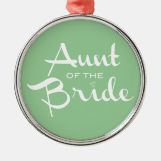 Aunt of Bride White on Green Christmas Ornament