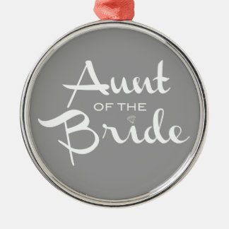 Aunt of Bride White on Grey Christmas Tree Ornaments