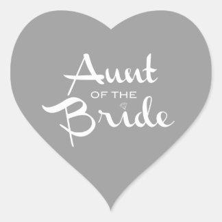 Aunt of Bride White on Grey Heart Sticker