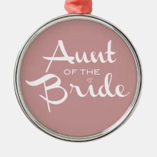 Aunt of Bride White on Mauve Silver-Colored Round Decoration