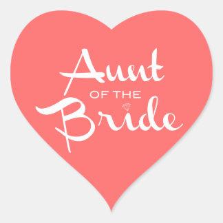 Aunt of Bride White on Peach Heart Sticker