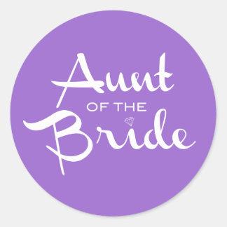 Aunt of Bride White on Purple Round Sticker