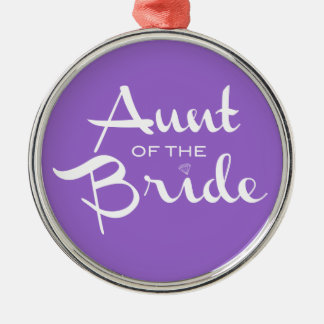 Aunt of Bride White on Purple Silver-Colored Round Decoration