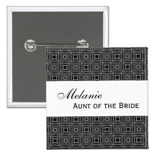 AUNT OF THE BRIDE Button Black and White Damask