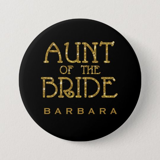Aunt of the Bride Gold Faux Glitter Nametag