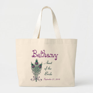 Aunt of the Bride Peacock Feather Teal Purple Jumbo Tote Bag