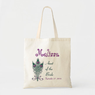 Aunt of the Bride Peacock Teal Purple- Custom Name Canvas Bags