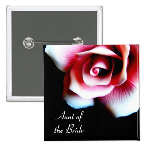 Aunt of the Bride Pink Rose I.D Button