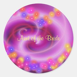 Aunt of the Bride Swirly Heart Sticker