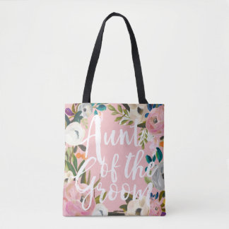 Aunt of the Groom Brushed Floral Wedding Pink Tote Bag