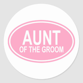 Aunt of the Groom Wedding Oval Pink Round Sticker