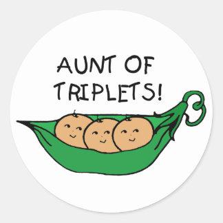 Aunt of Triplets Pod Round Sticker