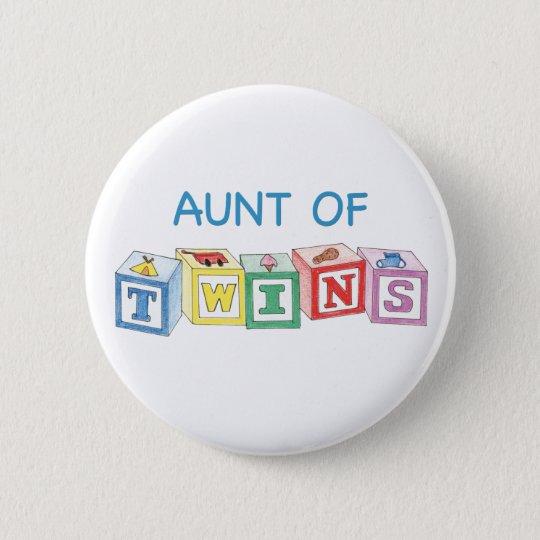 Aunt of Twins Blocks 6 Cm Round Badge