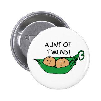 Aunt of Twins Pod 6 Cm Round Badge