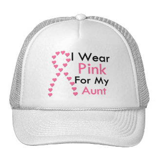 Aunt Pink Ribbon Breast Cancer Mesh Hats