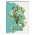 aunt, summer colour birthday card with carnations