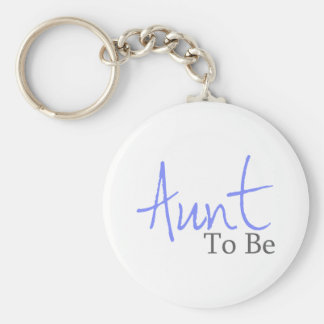 Aunt To Be Blue Script Keychain