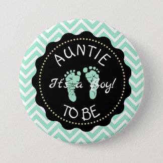 Aunt to be Sage Green Chevron Baby Shower button