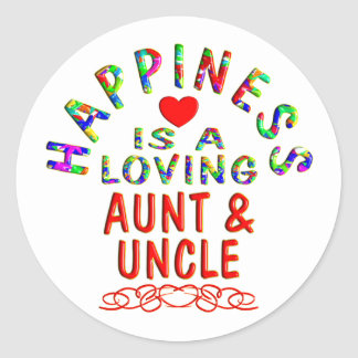 Aunt & Uncle Happiness Classic Round Sticker