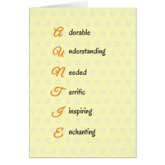 Auntie birthday text flowers orange greeting card