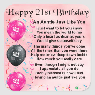 Auntie Poem 21st Birthday Square Sticker