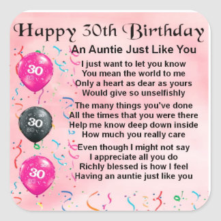 Auntie Poem 30th Birthday Square Sticker