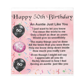 Auntie Poem - 50th Birthday Notepad