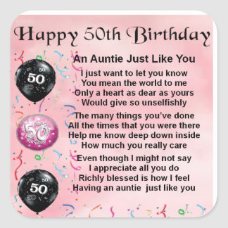 Auntie Poem - 50th Birthday Square Sticker