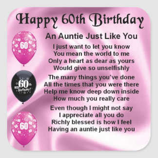 Auntie Poem - 60th Birthday Square Sticker
