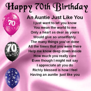 Aunts 70th Birthday Gifts Gift Ideas