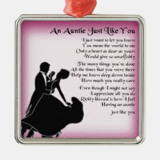 Auntie Poem - Ballroom Dancers Design Silver-Colored Square Decoration