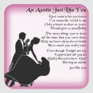 Auntie Poem - Ballroom Dancers Design Square Sticker