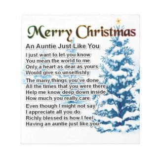 Auntie Poem  Christmas Design Notepad