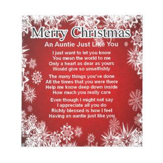 Auntie Poem - Christmas Design Notepad