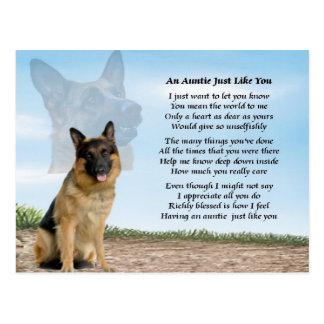 Auntie poem - German Shepherd Dog Postcard