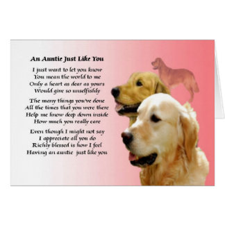 Auntie Poem - Golden Retriever design Card